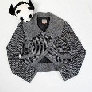 Black, white wool Hinge houndstooth cutoff jacket
